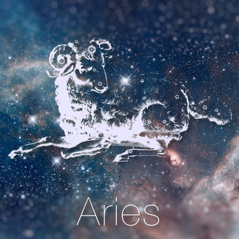 Astrological zodiac sign - Aries. Vintage astrological drawing. Galaxy sky on the background. Can be used for horoscopes. Elements of this image furnished by NASA.