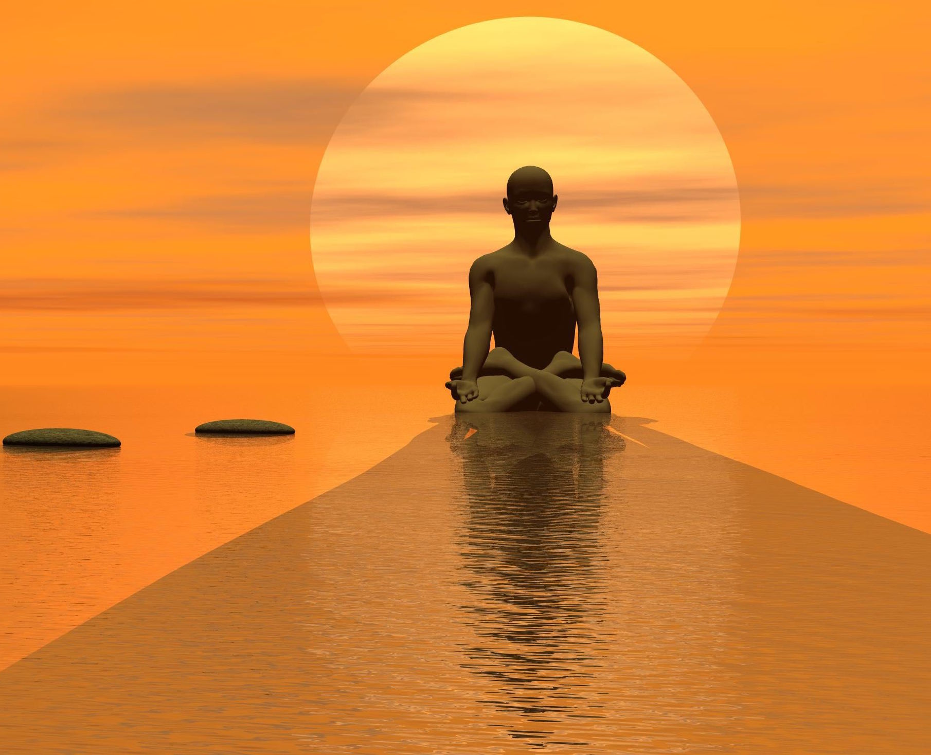 Steps over the ocean  to meditating man in front of the sun by beautiful sunset