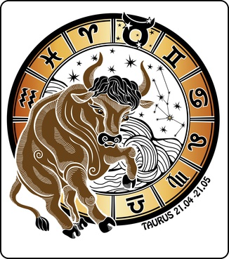 One animal Taurus  rides behind them are symbols of all zodiac signs Horoscope circle.